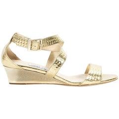 Metallic Gold Jimmy Choo Chiara Leather Wedge Sandals