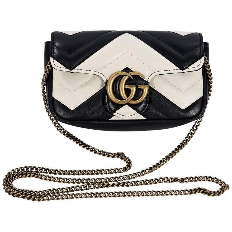 0cf76475985 Black and White Gucci GG Marmont Super Mini Bag at 1stdibs