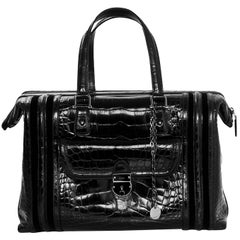 Gucci Special Order Runway Black Alligator Boston Doctor Bag