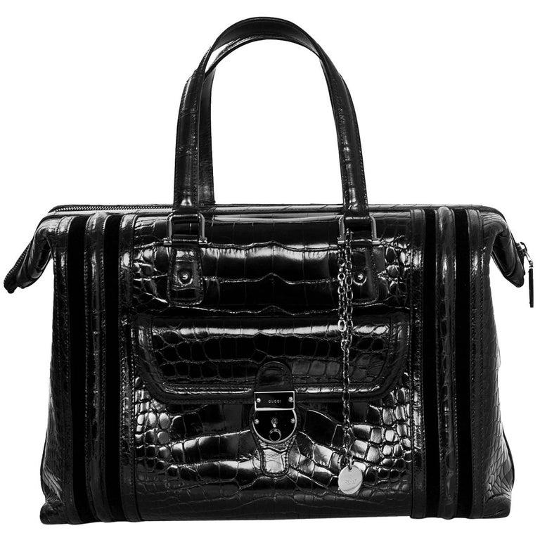 Gucci Special Order Runway Black Alligator Boston Doctor Bag For Sale
