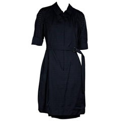 Navy Blue Akris Cotton Eyelet Dress