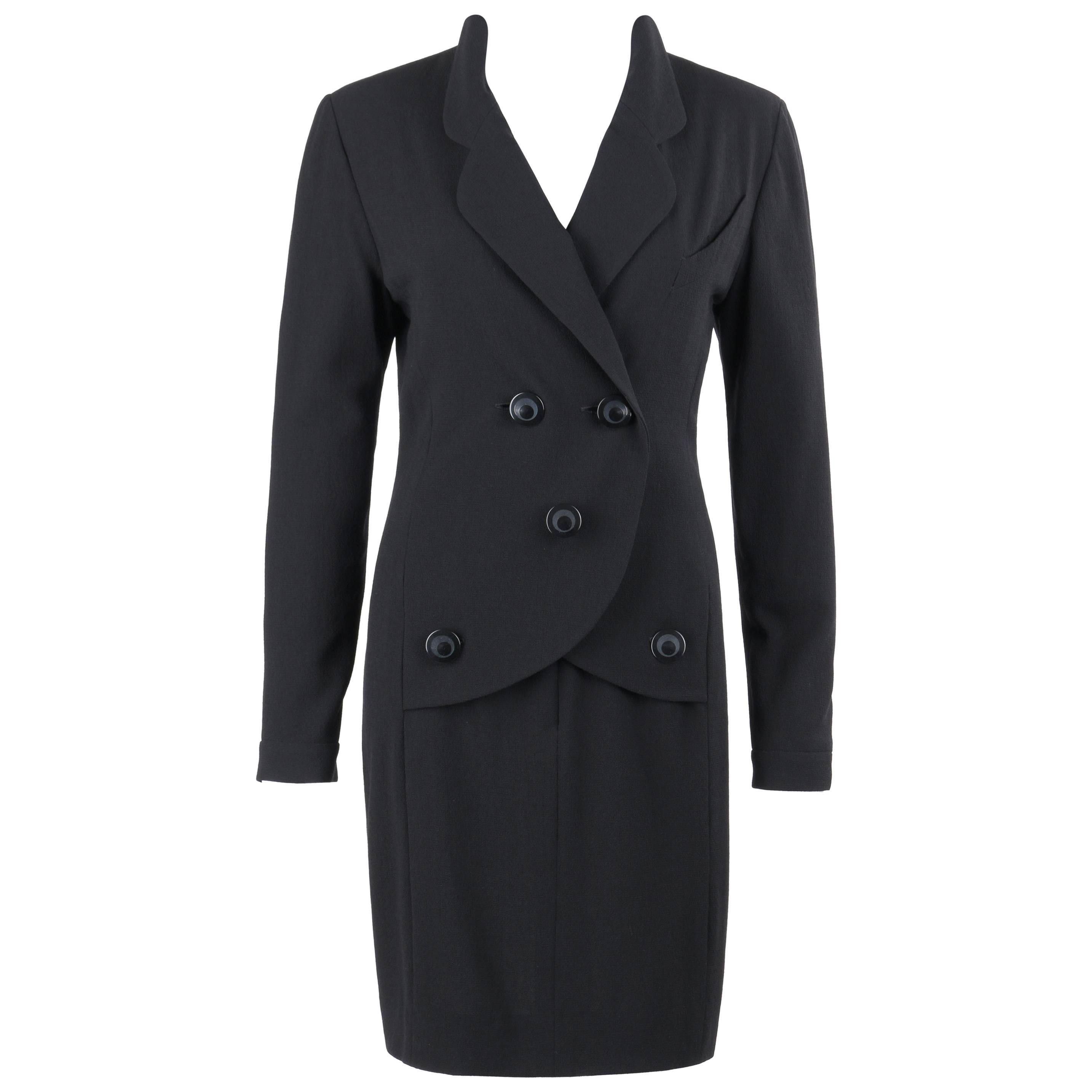 CHANEL Boutique c.1980's Black Wool Crepe Double Breasted One Piece Dress Suit