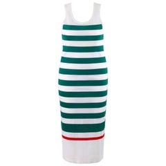 GUCCI c.1980's White & Green Striped Knit Sleeveless Maxi Tank Dress