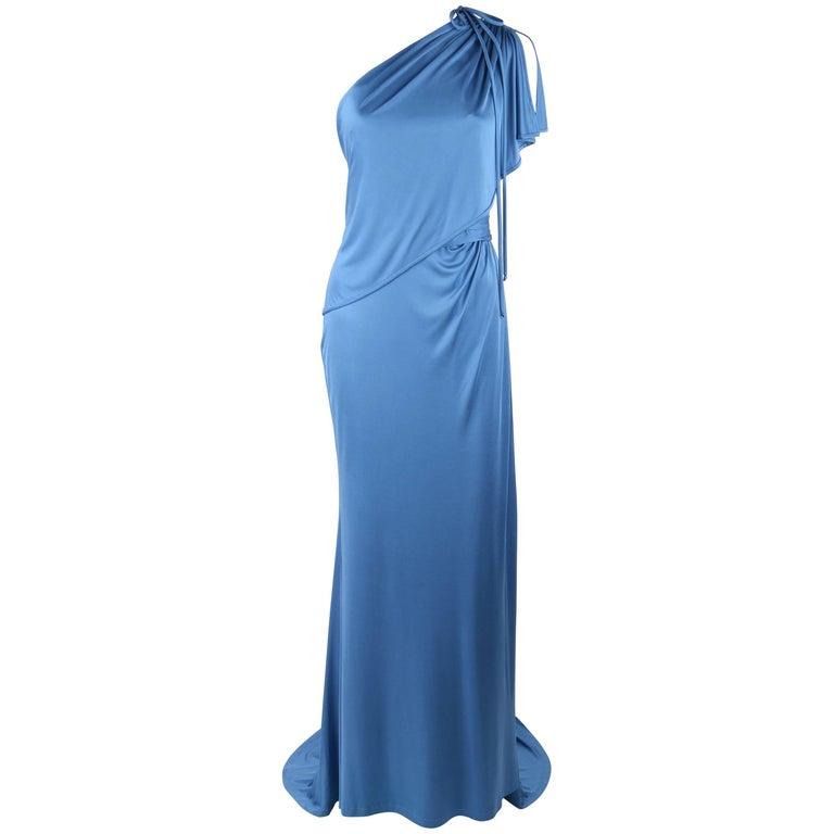 CAROLINA HERRERA Resort 2011 Blue Silk Grecian Draped One Shoulder Evening Gown