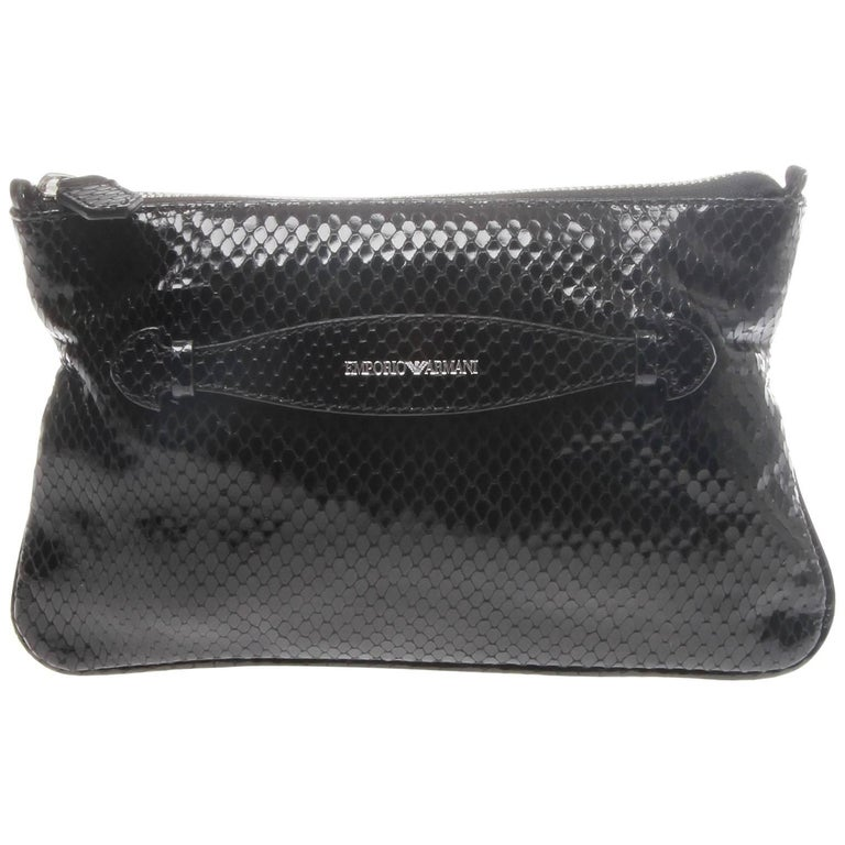 Emporio Armani Black Snakeskin Look Leather Crossbody Clutch