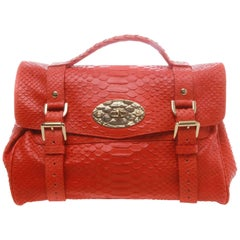 Mulberry Alexa Flame Silky Snake Print Leather Satchel