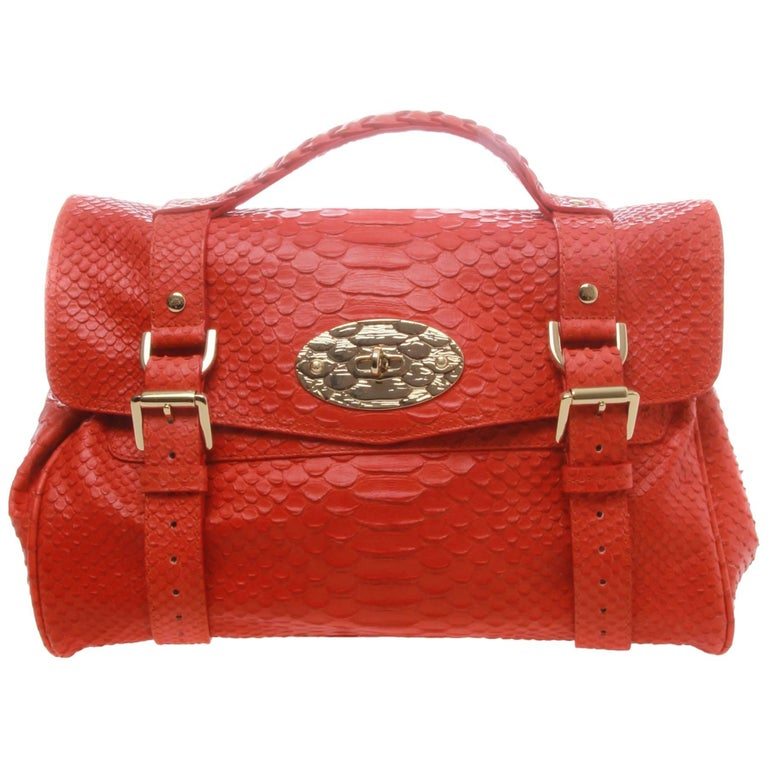 Mulberry Alexa Flame Silky Snake Print Leather Satchel For Sale at 1stdibs 0ef5cd3a01ad6