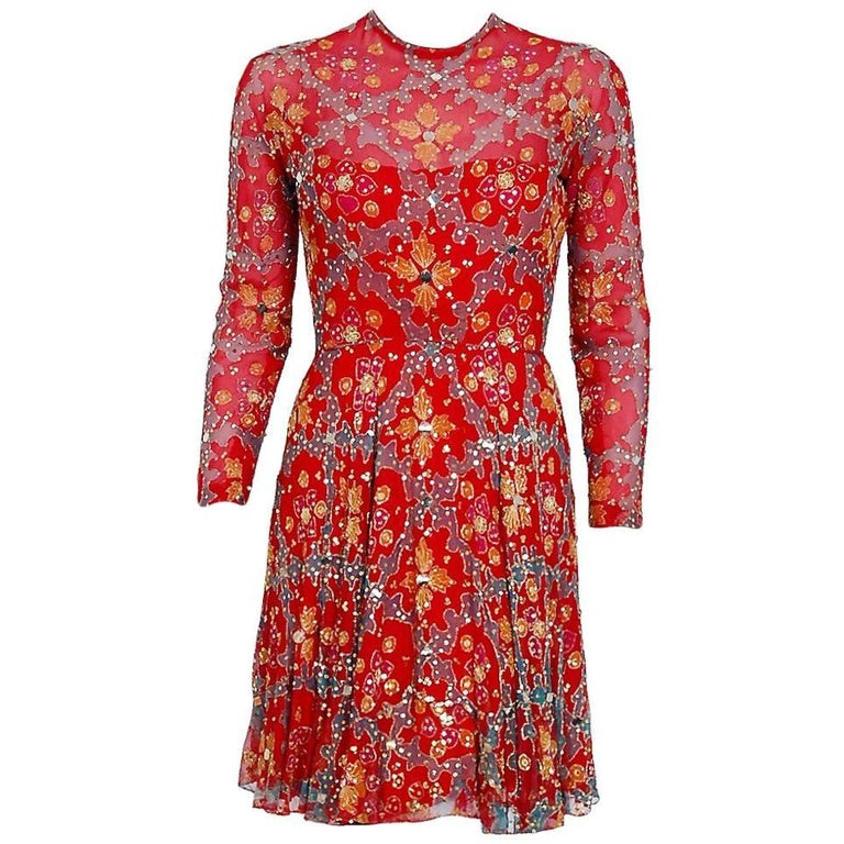 1968 Arnold Scaasi Couture Red Embroidered Sequin Indian Silk Long-Sleeve Dress