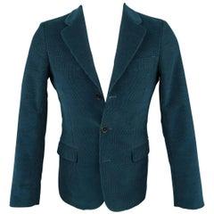Men's UMIT BENAN 34 Regular Dark Teal Textured Corduroy 3 Button Sport Coat