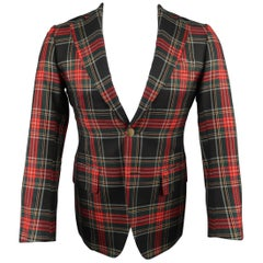 Men's UNITED ARROWS US 36 Short Black & Red Plaid Wool Gold Button Sport Coat