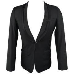 Men's MIHARAYASUHIRO 36 Short Black Wool Detalied Satin Shawl Collar Tuxedo Jack