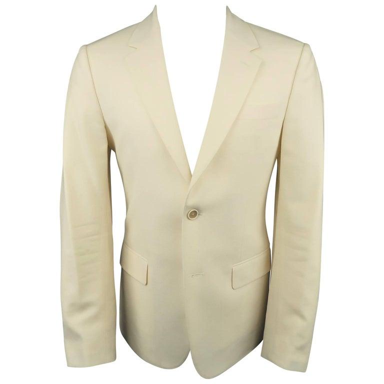 Men's ALEXANDER MCQUEEN 38 Regular Cream Wool 2 Button Notch Lapel Sport Coat