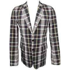 Men's DRIES VAN NOTEN 38 Charcoal Red Yellow & White Plaid Notch Lapel Sport Coa