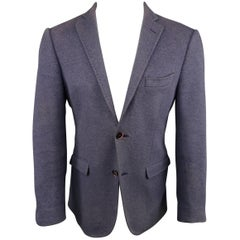 Men's ETRO 38 Regular Navy Textured Mohair / Wool 2 Button Notch Lapel Sport Coa