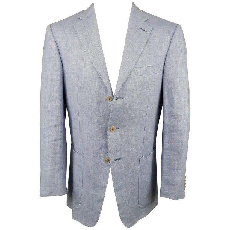 85924b9fda Men's ERMENEGILDO ZEGNA 38 Regular Light Blue Heringbone Hemp Blend Sport  Coat