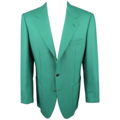 Men's  Vintage BRIONI 40 Green Cashmere Gold Enamel Button Sport Coat