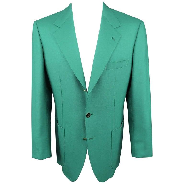 fc20819d35c3 Men's Vintage BRIONI 40 Green Cashmere Gold Enamel Button Sport Coat For  Sale