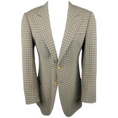 GIORGIO ARMANI 40 Tan & Gray Houndstooth Silk / Cotton Peak Lapel Sport Coat