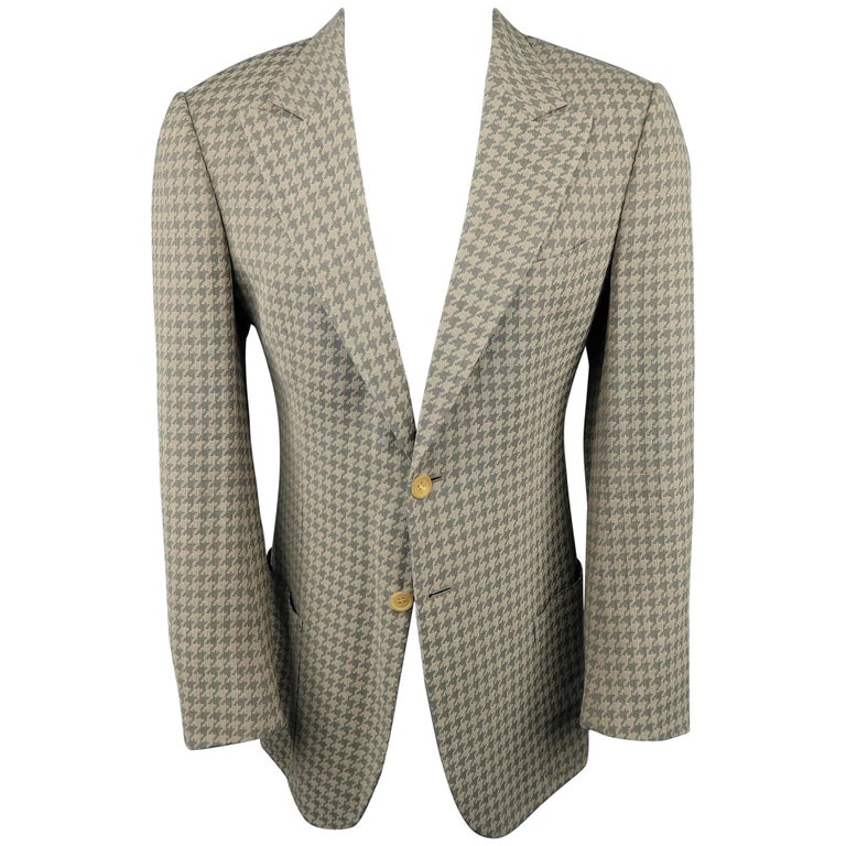 Men's GIORGIO ARMANI 40 Tan & Gray Houndstooth Silk / Cotton Peak Lapel Sport Co