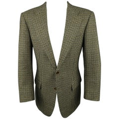 Men's KITON 40 Green & Tan Gold Houndstooth Wool / Cashmere Notch Lapel Sport Co