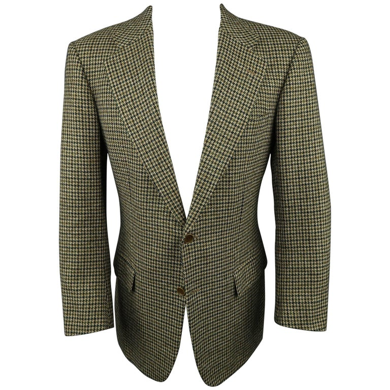 835bbf2812f Men's KITON 40 Green & Tan Gold Houndstooth Wool / Cashmere Notch Lapel  Sport Co For