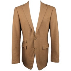 Men's RALPH LAUREN 40 Long Tan Herringbone Cashmere Notch Lapel Sport Coat