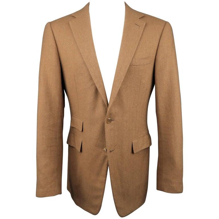Men's RALPH LAUREN 40 Long Tan Herringbone Cashmere Notch Lapel Sport Coat