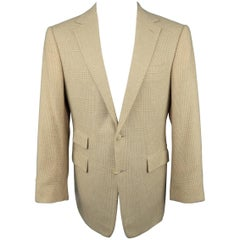 Men's RALPH LAUREN 40 Khaki & Tan Glenplaid Cashmere Notch Lapel Sport Coat