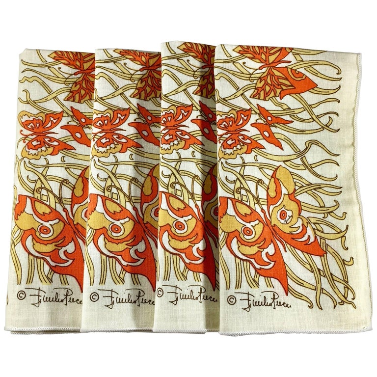1970s Emilio Pucci Orange and Yellow Butterfly Napkins