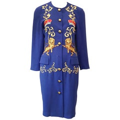 Adam Douglass Adrianna Papell Blue Embroidered Lion Jacket