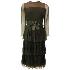 Jean Louis for I. Magnin Black Pleated Silk Ruffle Bow Dress, 1960s