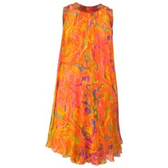 Hirshleifer Beaded Flowy Rainbow Shift Dress, 1970s