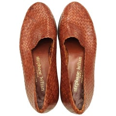 1990s Stephane Kelian Brown Woven Leather Loafers