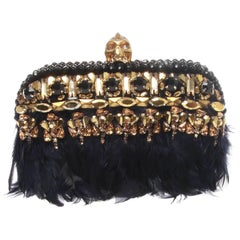 Alexander McQueen Black Feathered Skull Clutch