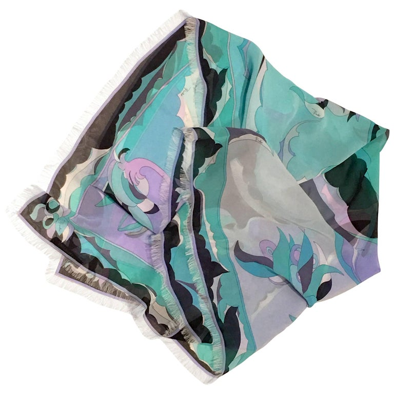 21st Century Contempory Geometric Print Silk Chiffon Scarf By, Pucci For Sale