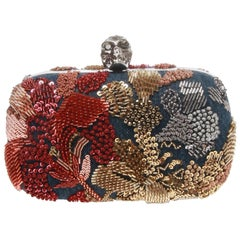 Alexander McQueen Washed Denim Embellished Skull Box Clutch