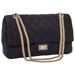 CHANEL 2.55 Double Flap Jumbo Bag in Black Jersey