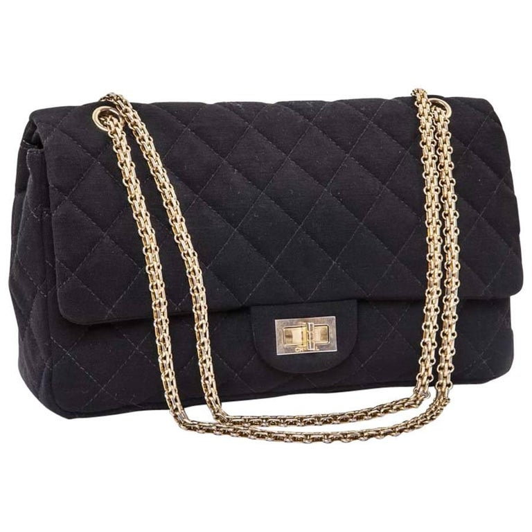 b3d5c138d9cb CHANEL 2.55 Double Flap Jumbo Bag in Black Jersey For Sale at 1stdibs