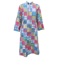 Flo Weinberg Patchwork Plaid Madras Cover Up Robe, 1970s