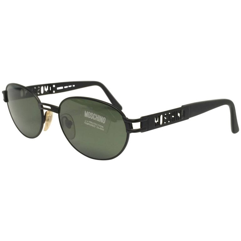 ea08aabf91 New Vintage Moschino MM3018 Oval Black Matte 1990 Sunglasses For Sale