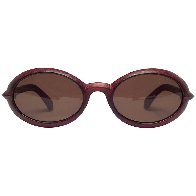 New Vintage Fendi SL7550 Oval Dark Red Matte 1990 Sunglasses