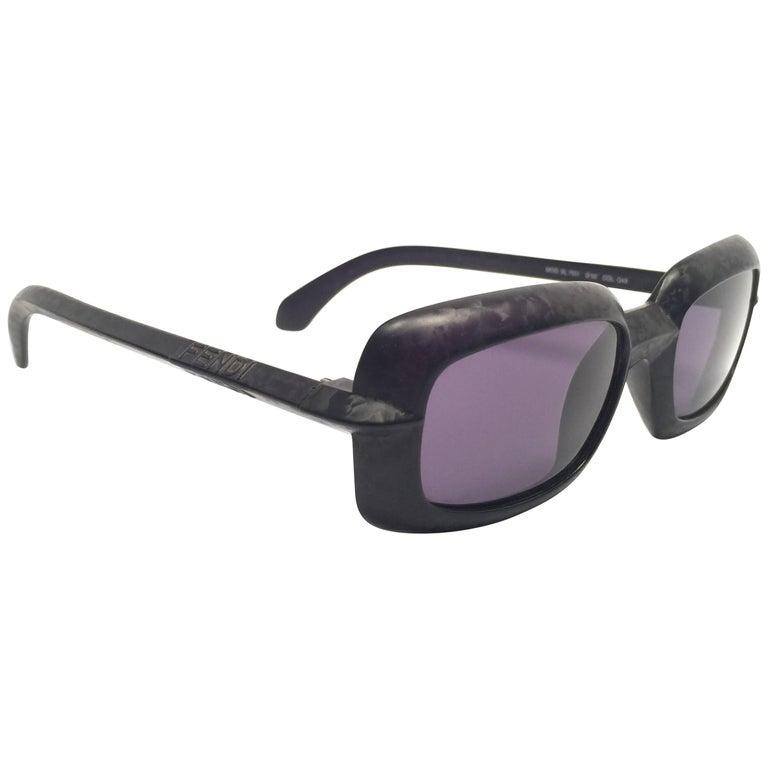 New Vintage Fendi SL7551 Square Black Matte 1990 Sunglasses