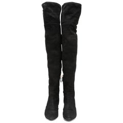 CHANEL Thigh Boots in Black Suede Calfskin Size 38.5FR