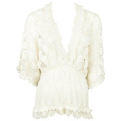 9901ea6b2ef6a2 Oscar De La Renta Off-White Silk Blouse Sz 12 NWT For Sale at 1stdibs