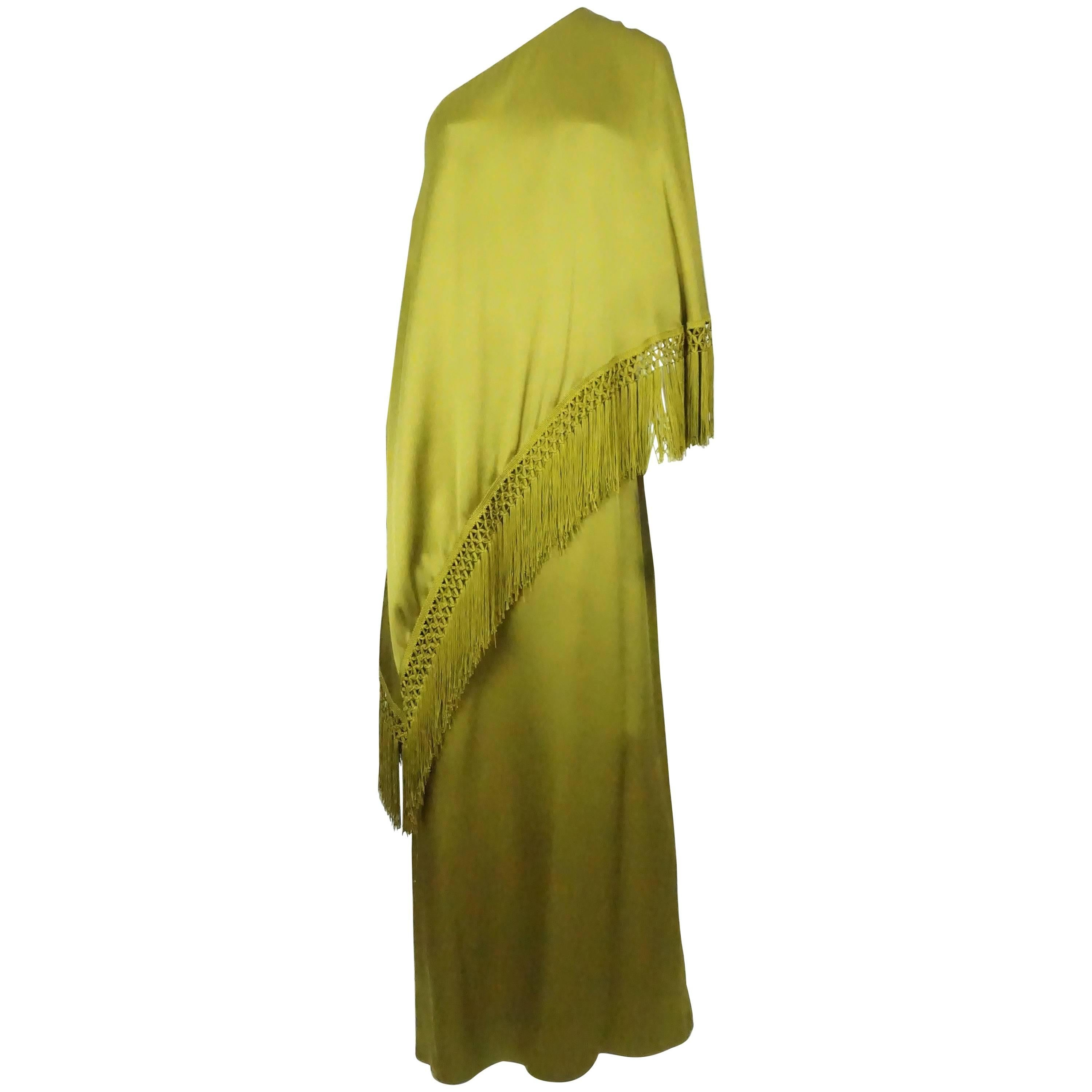 Andrew Gn Olive Green Silk One Shoulder Gown with Fringe