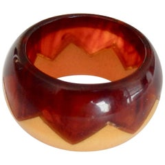Art Deco Two-Color Geometric Bakelite Ring