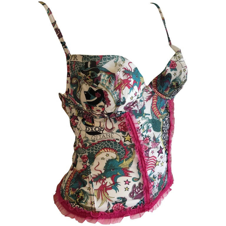Christian Dior Spring 2004 by John Galliano Vintage Lace Overlay Corset Bustier