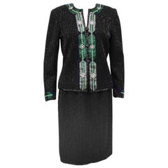 1970s Adolfo Black Knit Evening Suit with Art Deco Inspired Beading