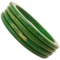 1930'S Bakelite Green & Yellow Marbleized Bangle Bracelets S/4