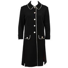 1970s Carnaby Black Mod Look Knit Coat with Cream Trim